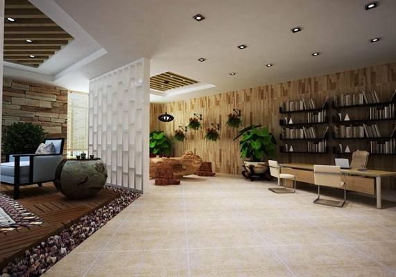 新中式棕色木艺办公桌椅组合3D模型【ID:417464136】