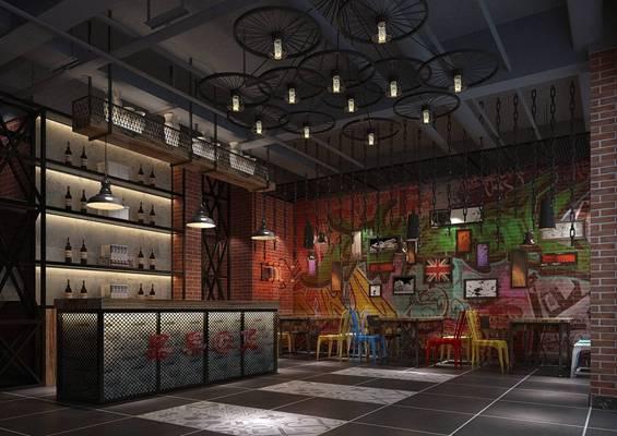 工业风酒吧3D模型【ID:417470491】