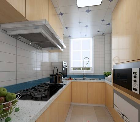 现代家居封闭厨房3D模型【ID:417474907】