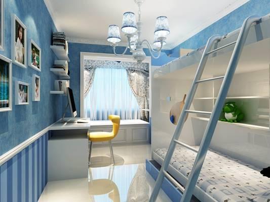 现代蓝色男孩儿童房3D模型【ID:417489576】