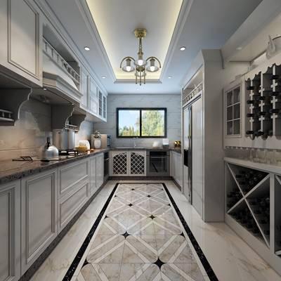 美式简约家居封闭厨房3D模型【ID:417493994】