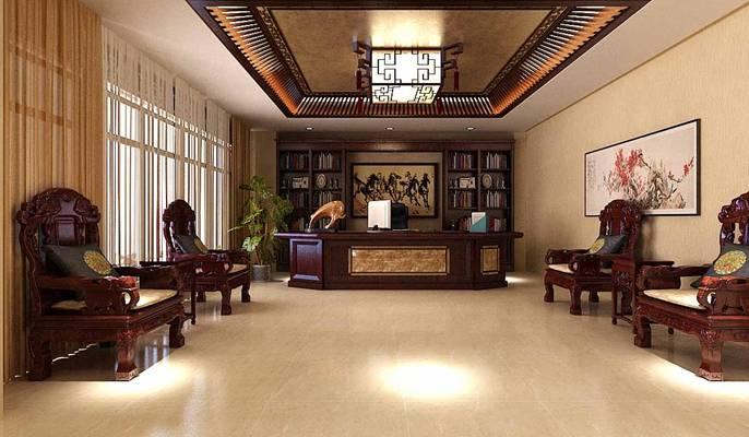 传统中式原木色茶馆3D模型【ID:417499147】
