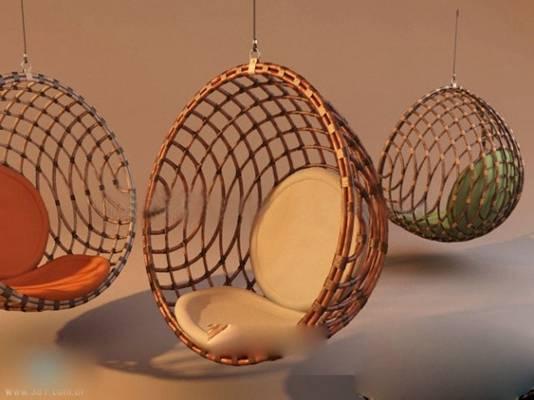 现代棕色木艺蛋壳椅3D模型【ID:417501087】