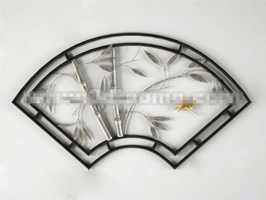 新中式铁艺镂花窗3D模型【ID:417501721】