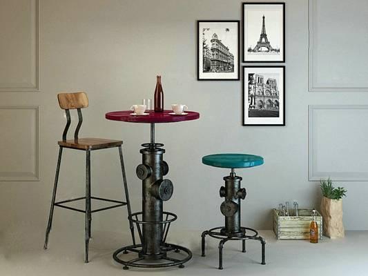 工业风黑色铁艺椅子茶几组合3D模型【ID:417502039】