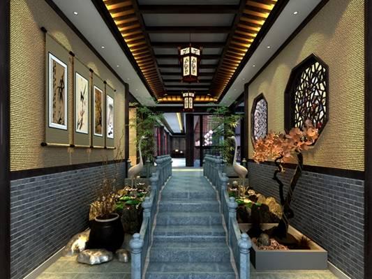 新中式酒店玄关过道3D模型【ID:417513841】