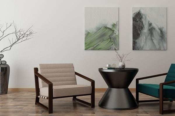 现代黑色木艺椅子茶几组合3D模型【ID:417516066】