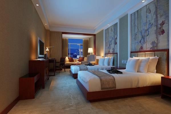 新中式原木色酒店客房3D模型【ID:417516675】