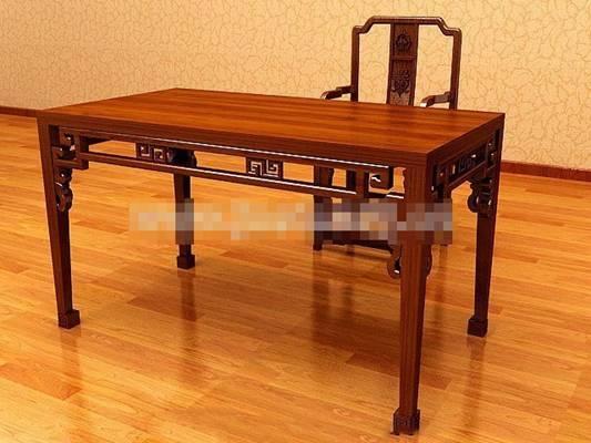 新中式棕色木艺办公桌椅组合3D模型【ID:417536100】
