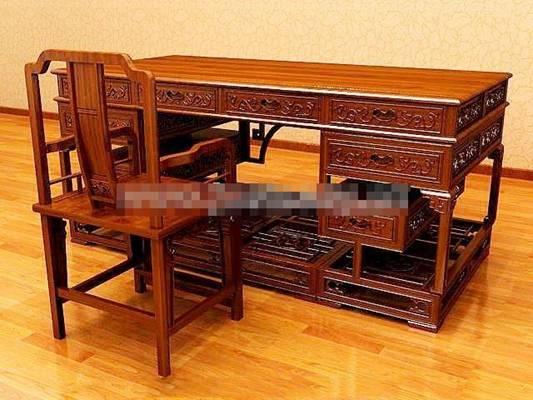 新中式棕色木艺办公桌椅组合3D模型【ID:417536118】