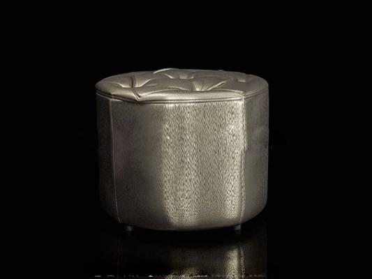 现代银色皮质沙发凳3D模型【ID:417544269】