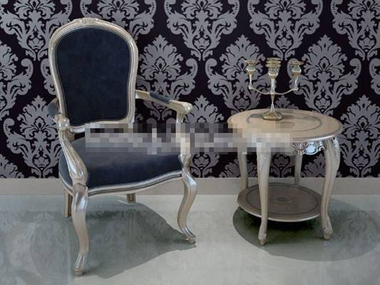 经典欧式银色铁艺椅子茶几组合3D模型【ID:417554039】