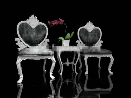 欧式简约铁艺椅子茶几组合3D模型【ID:417554099】