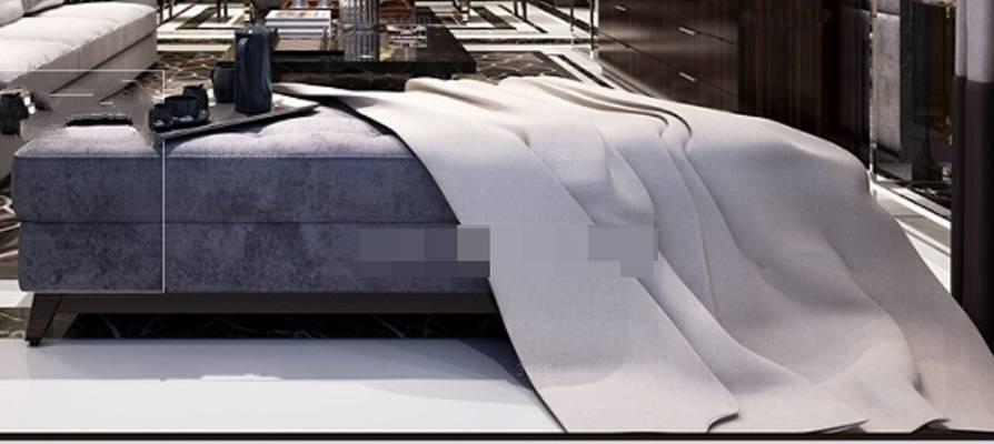 现代灰色布艺沙发凳3D模型【ID:417568234】