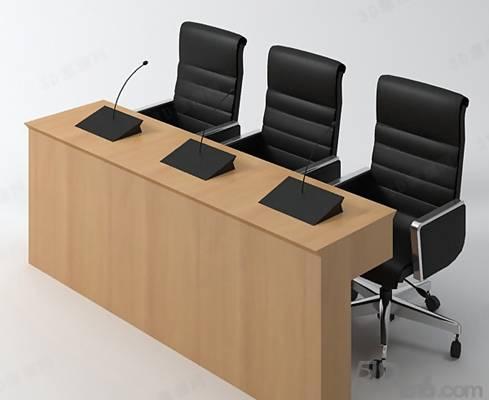 现代棕色木艺办公桌椅组合3D模型【ID:417581165】