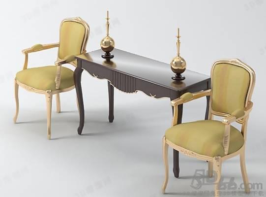 欧式简约布艺椅子茶几组合3D模型【ID:417583055】