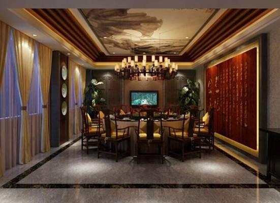 新中式酒店宴会厅3D模型【ID:417583496】