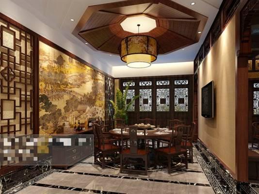 新中式酒店宴会厅3D模型【ID:417584419】