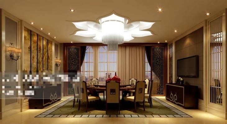新中式酒店宴会厅3D模型【ID:417584428】