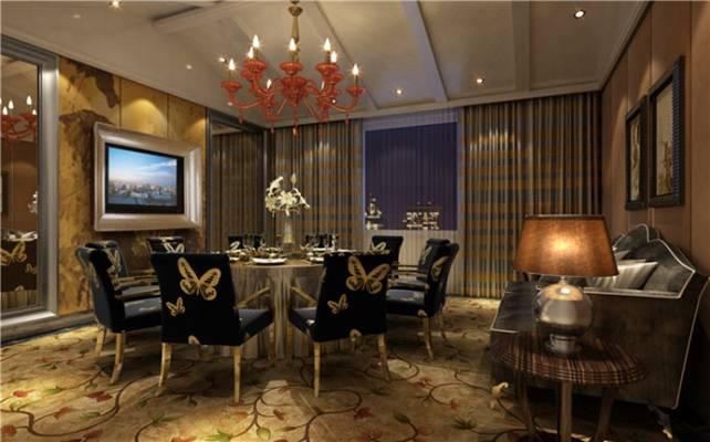 美式简约酒店宴会厅3D模型【ID:417584437】