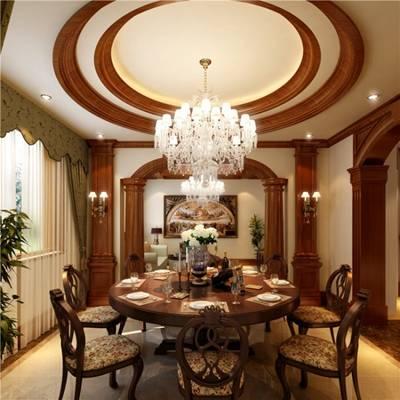 传统美式原木色酒店宴会厅3D模型【ID:417584448】