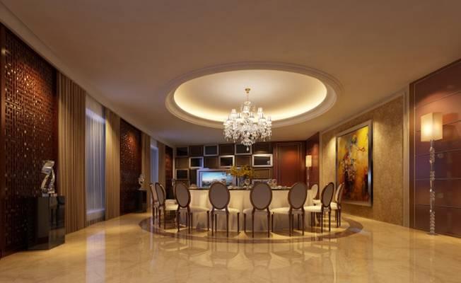 美式简约酒店宴会厅3D模型【ID:417584464】