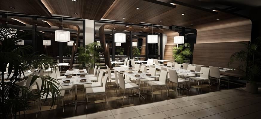 现代酒店宴会厅3D模型【ID:417592432】