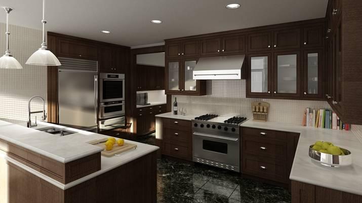 后现代家居封闭厨房3D模型【ID:417592921】
