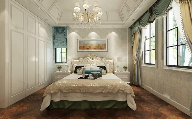欧式卧室3D模型【ID:719622747】