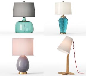 现代玻璃台灯组合3D模型【ID:627804178】