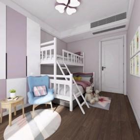 现代女孩房高低床3D模型【ID:131423208】