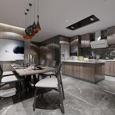 現代餐廳敞開式廚房3D模型【ID:127777819】