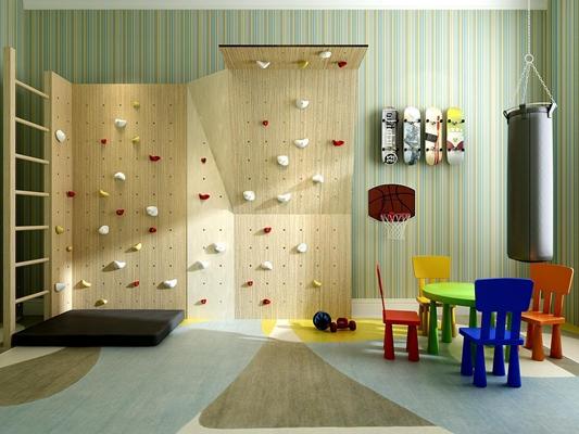 兒童游樂室運動器材組合3D模型【ID:828126046】