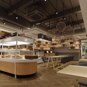 启扬设计现代面包店3D模型【ID:128033021】