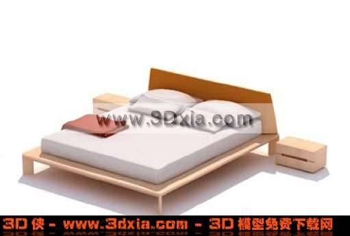 3D普通常见的幽雅双人床模型