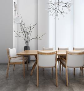 北歐實木餐桌椅器皿干枝吊燈3D模型【ID:327786470】