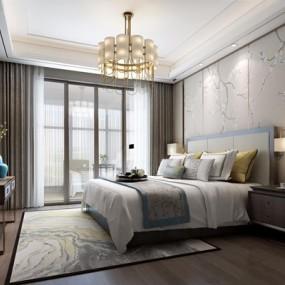 新中式卧室3D模型【ID:427982332】