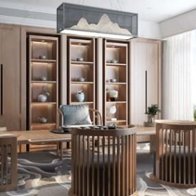 新中式茶室3D模型【ID:328256701】