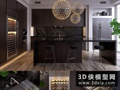 现代厨柜组合国外3D模型【ID:829363080】