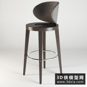 现代吧椅国外3D模型【ID:729340824】