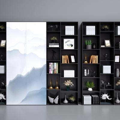 现代实木书柜组合3D模型【ID:928559529】