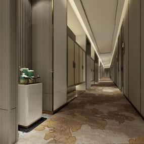 新中式酒店走廊過道3d模型【ID:747179456】