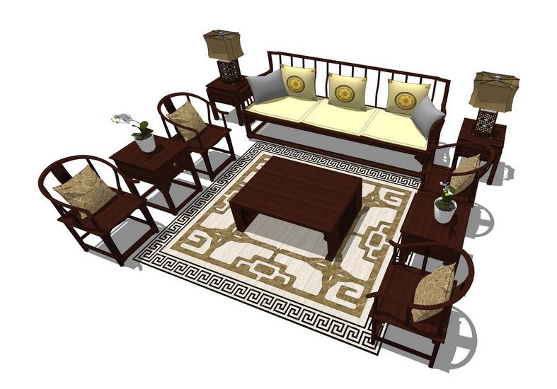 中式客厅沙发茶几组合SU模型【ID:436372140】