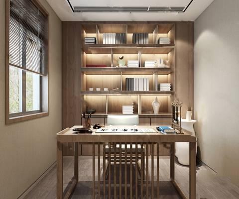 中式书房3D模型【ID:519625664】