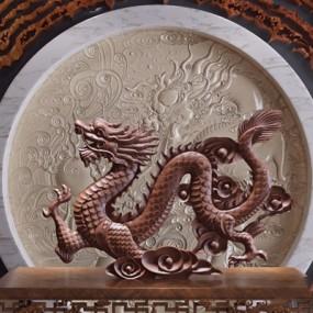 中式雕塑中国龙3D模型【ID:327930881】