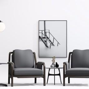 新中式单人沙发茶几3D模型【ID:928191671】