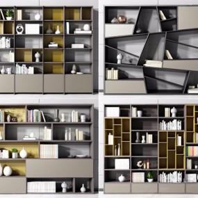 现代书柜组合3D模型【ID:928193516】