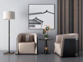 新中式休閑沙發圓幾擺件組合3D模型【ID:127752212】