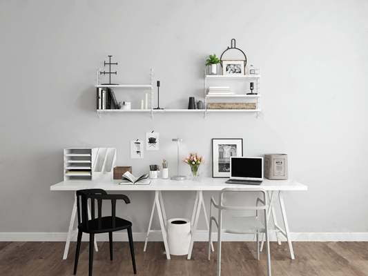 北欧书桌椅墙饰组合3D模型【ID:328253670】