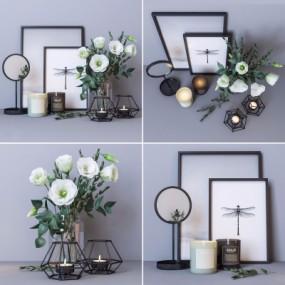 现代蜡烛化妆镜花束组合3D模型【ID:928560127】